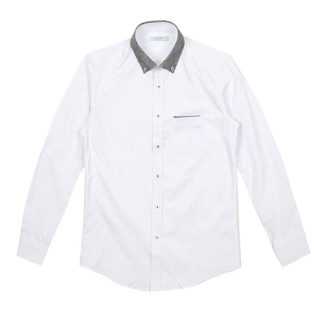 b3cf0822cb7 [화이트펄맨]체크배색 화이트카라셔츠/카라배색화이트셔츠/남자배색화이트셔츠